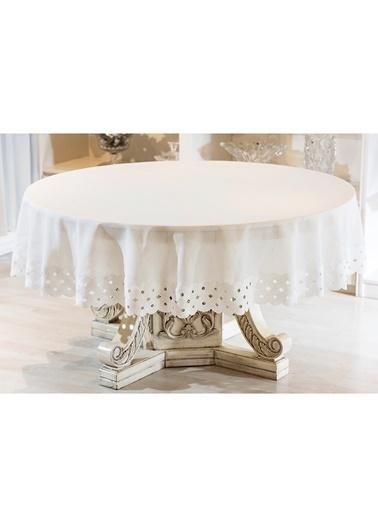 Gül Güler Dantelli Masa Örtüsü Daire Güpür 200 Cm Beyaz